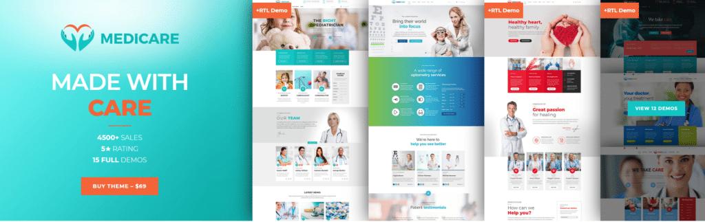 ثيم ووردبريس الطبي الأول Medicare  افضل ثيمات ووردبريس لغرض انشاء موقع طبي