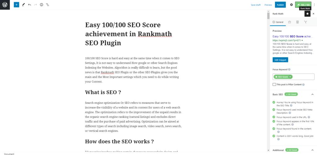 Easy 100/100 SEO Score achievement in Rankmath SEO Plugin