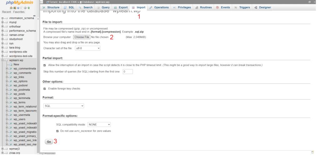 Import Localhost WordPress Database on Live Site: