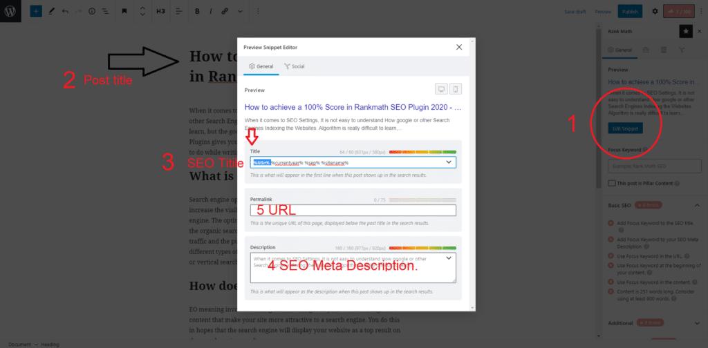 Add Focus Keyword to the SEO title. Seo Meta Description Seo URL